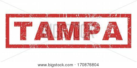 Tampa text rubber seal stamp watermark. Tag inside rectangular banner with grunge design and dirty texture. Horizontal vector red ink emblem on a white background.