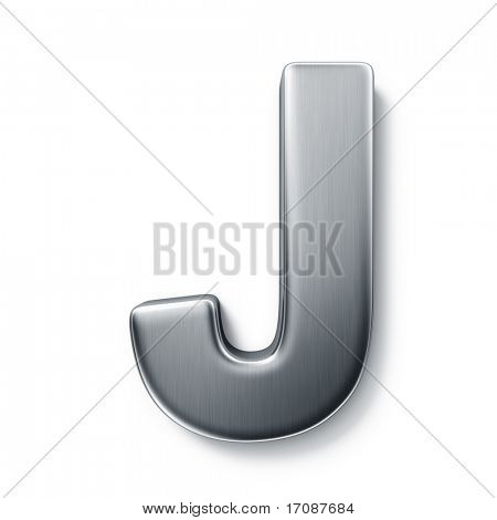 3d rendering of the letter J in brushed metal on a white isolated background.