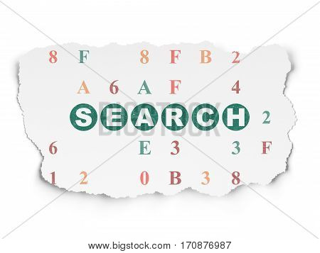 Web development concept: Painted green text Search on Torn Paper background with  Hexadecimal Code