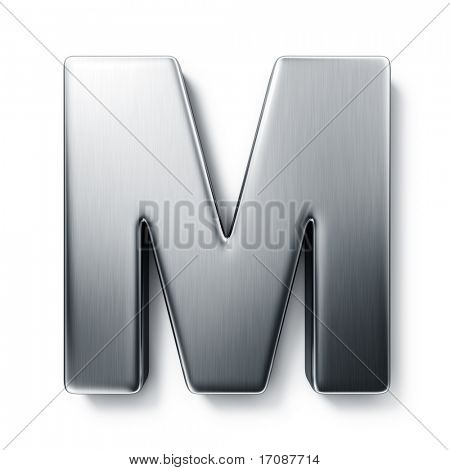 3d rendering of the letter M in brushed metal on a white isolated background.