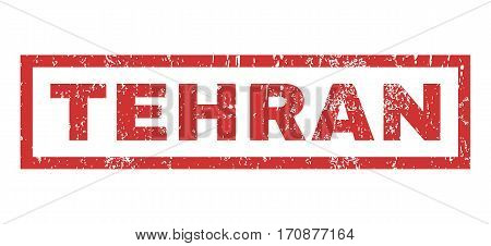 Tehran text rubber seal stamp watermark. Caption inside rectangular shape with grunge design and unclean texture. Horizontal vector red ink sign on a white background.