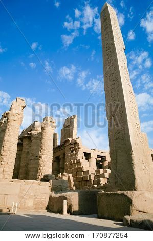 Obelisk And Ruins In Karnak Temple