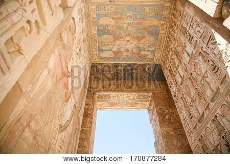 Paintings In Ceiling In Medinet Habu Temple