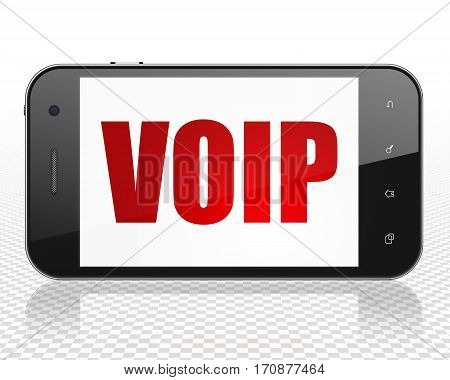 Web design concept: Smartphone with red text VOIP on display, 3D rendering