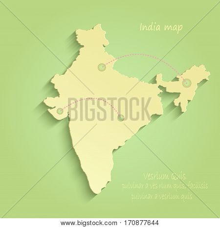 India map green yellow vector template indian