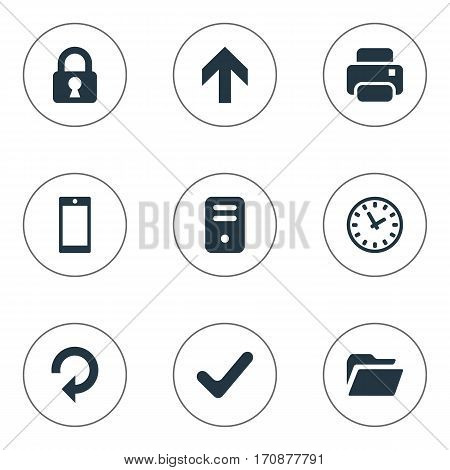 Set Of 9 Simple Application Icons. Can Be Found Such Elements As Lock, Dossier, Check And Other.