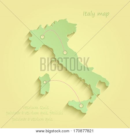 Italy map yellow green vector template italy