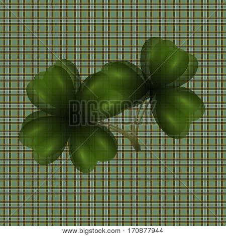 Image of leaf clover. Translucent. Background in the cell in the Irish style. Vector illustration