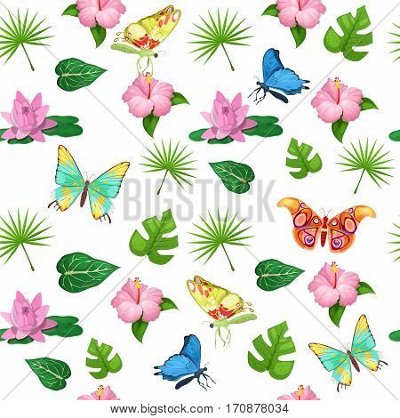 Tropical Flowers and Butterflies Seamless Pattern. Vector background