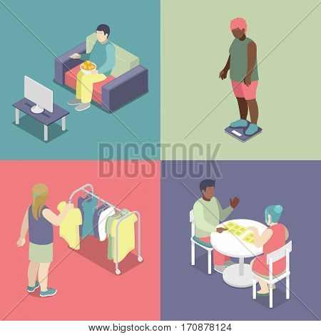 Isometric Fat People Set. Unhealthy Eating Concept. Vector 3d flat illustration