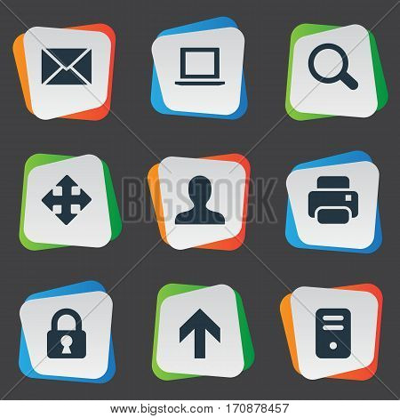 Set Of 9 Simple Apps Icons. Can Be Found Such Elements As Computer Case, Magnifier, User And Other.
