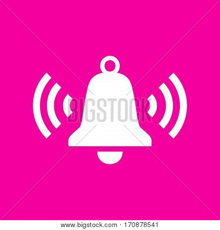 Ringing bell icon. White icon at magenta background.