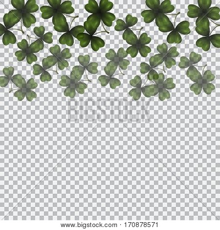 Patrick's day. Image translucent clover leaves on top. Background checkered. Vector illustration