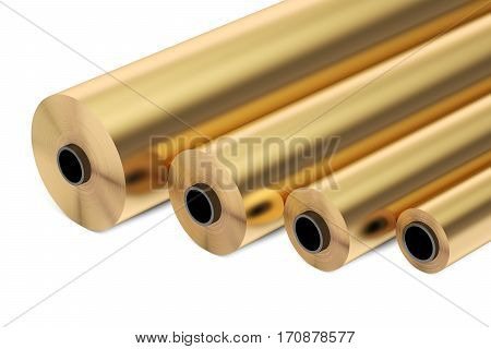 copper or bronze foil rolls 3D rendering isolated on white background