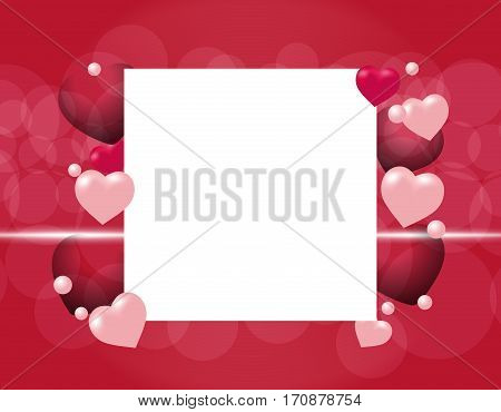 Flyers or invitation card for the holiday Valentine's Day. Semi transparent hearts on a red background. Place for announcements. Vector illustration