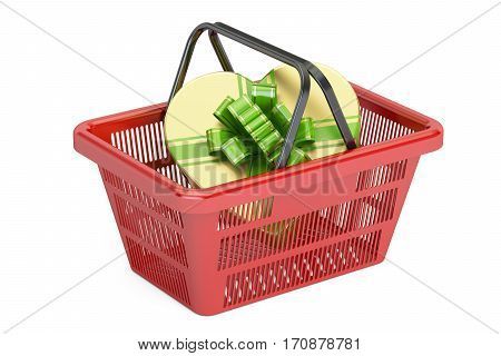 Valentine's Day concept. Shopping basket with gift box in shape of heart 3D rendering isolated on white background