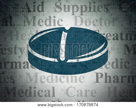 Healthcare concept: Painted blue Pill icon on Digital Data Paper background with  Tag Cloud
