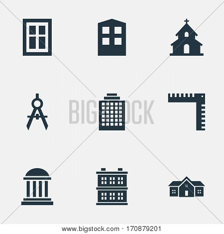 Set Of 9 Simple Construction Icons. Can Be Found Such Elements As Length, Block, Glazing And Other.