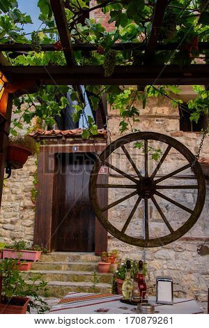 The decor in the Bulgarian style. Attractions of a beautiful city.