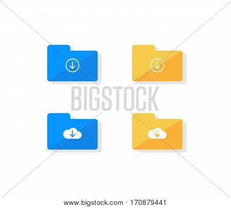 Cloud storage icon set. Folder download files collection flat design illustration.