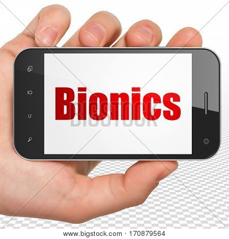 Science concept: Hand Holding Smartphone with red text Bionics on display, 3D rendering