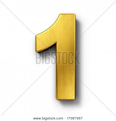 3d rendering of the number 1 in gold metal on a white isolated background. poster