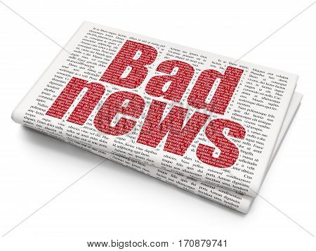 News concept: Pixelated red text Bad News on Newspaper background, 3D rendering