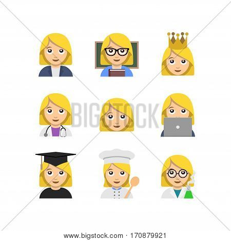 Abstract funny flat design people emoticon set. Simple style woman illustration collection