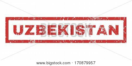 Uzbekistan text rubber seal stamp watermark. Caption inside rectangular shape with grunge design and dirty texture. Horizontal vector red ink sticker on a white background.