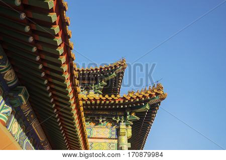Image of imperial roof decoration in Forbidden City at Beijing China