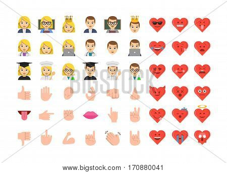 Abstract funny flat design people emoticon set. Simple style hand collection. Valentines day emoji style illustrations.