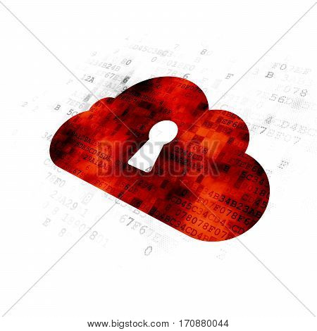 Cloud technology concept: Pixelated red Cloud With Keyhole icon on Digital background