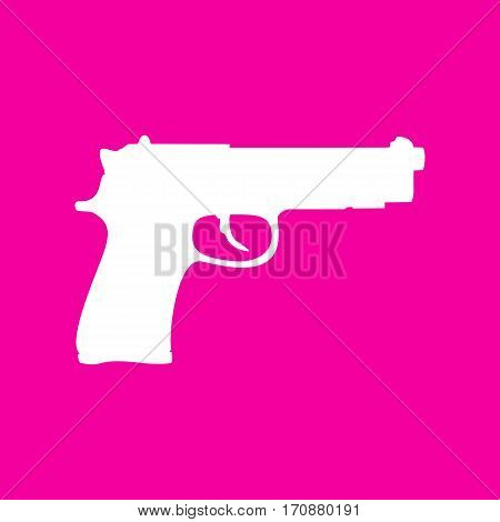 Gun sign illustration. White icon at magenta background.