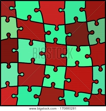 abstract colored puzzle background - red and teal