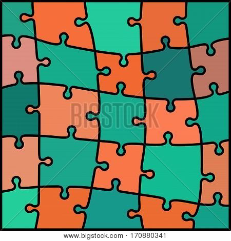 abstract colored puzzle background - orange and teal