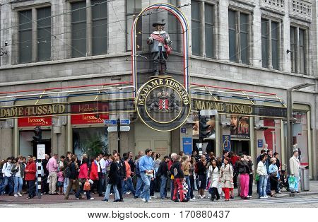 Netherlands Amsterdam june 2016: Madame Tussaud attrack tourists