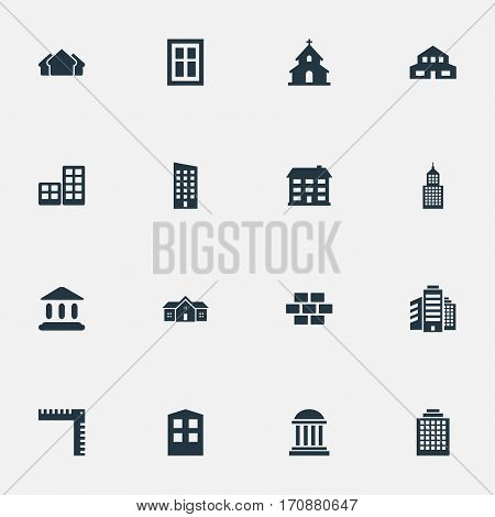 Set Of 16 Simple Architecture Icons. Can Be Found Such Elements As Booth, Academy, Floor And Other.