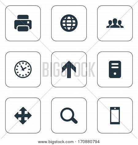 Set Of 9 Simple Application Icons. Can Be Found Such Elements As Watch, Community, Upward Direction And Other.