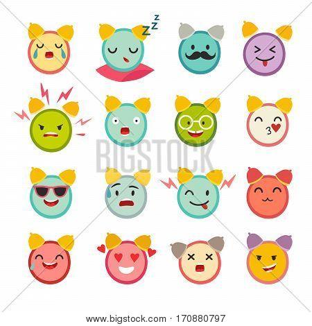 Emoticons alarm clock vector set. Cute funny stickers. Emoji big set flat cartoon style. Isolated on white background