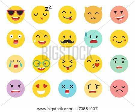 Emoticons vector set. Emoji icons yellow circle illustration. Cute funny emoji. Emoji big set flat cartoon style. Isolated on white background