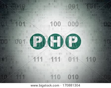 Software concept: Painted green text Php on Digital Data Paper background with Binary Code