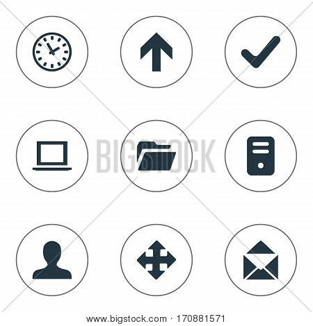 Set Of 9 Simple Application Icons. Can Be Found Such Elements As Computer Case, Arrows, Check And Other.
