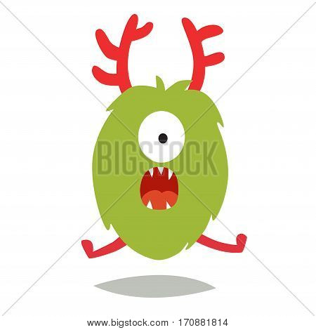 Emoji surprised monster. Cute shocked cyclop vector illustration. Cartoon funny emoticon. Monster sticker flat cartoon style. Isolated on white background