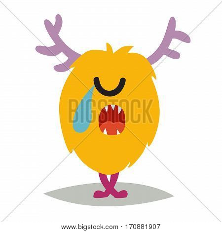 Emoji crying monster. Cute sad cyclop vector illustration. Cartoon funny emoticon. Monster sticker flat cartoon style. Isolated on white background
