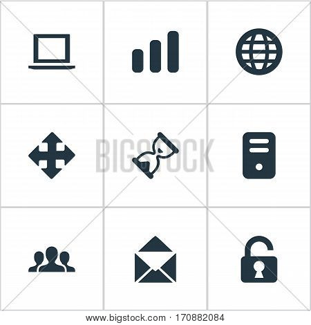 Set Of 9 Simple Apps Icons. Can Be Found Such Elements As Computer Case, Envelope, Arrows And Other.