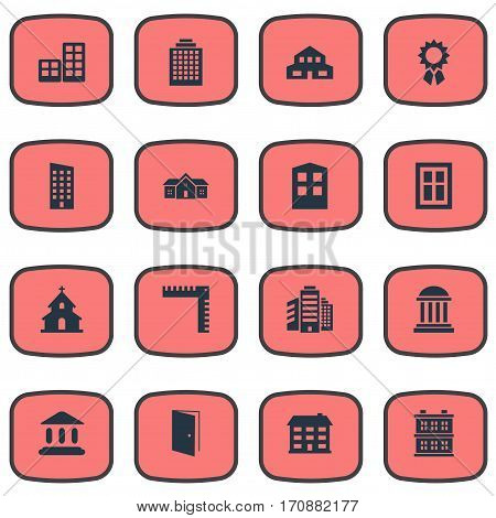 Set Of 16 Simple Construction Icons. Can Be Found Such Elements As Residence, Block, Superstructure And Other.