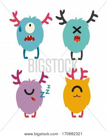 Emoji monsters. Cute cyclops vector set. Cartoon funny emoticons. Monsters stickers flat cartoon style. Isolated on white background