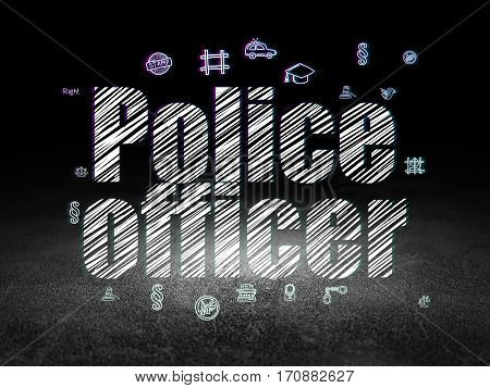 Law concept: Glowing text Police Officer,  Hand Drawn Law Icons in grunge dark room with Dirty Floor, black background