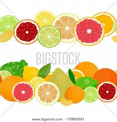 Summer postcard. Citrus fruits in garlands. Bergamot, lemon, grapefruit, lime, mandarin, pomelo, blood orange in rows. Whole and slices. Cozy ornament. For decoration, greetings, prints, textile, web