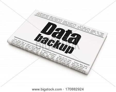Information concept: newspaper headline Data Backup on White background, 3D rendering